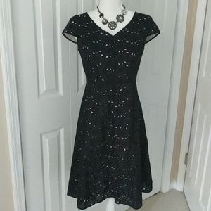 Talbots black floral eyelet fit and flare dress 4P